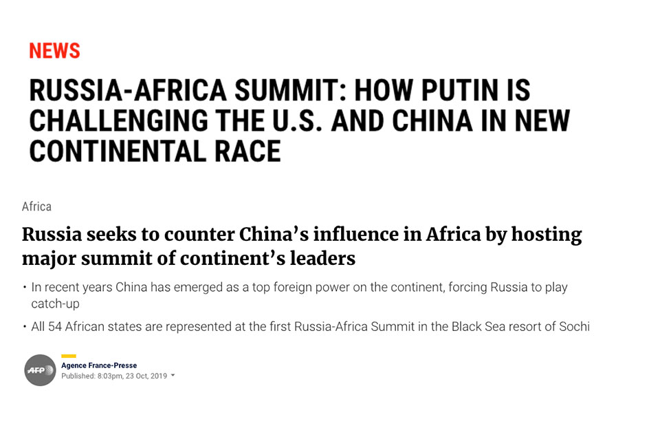With No Evidence, Some US & EU Media Frame Russia Summit as Move to Challenge Chinese Influence in Africa