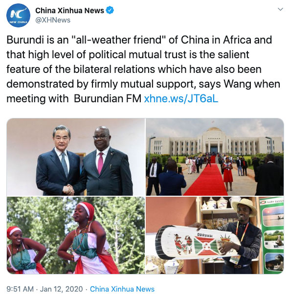 "China Promotes Burundi to ""All-Weather Friend"""