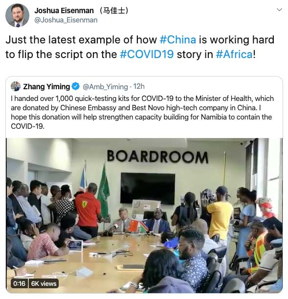 """China Leveraging New Aid Push to """"Flip the Script"""" on the COVID-19 Story Says China Scholar"""