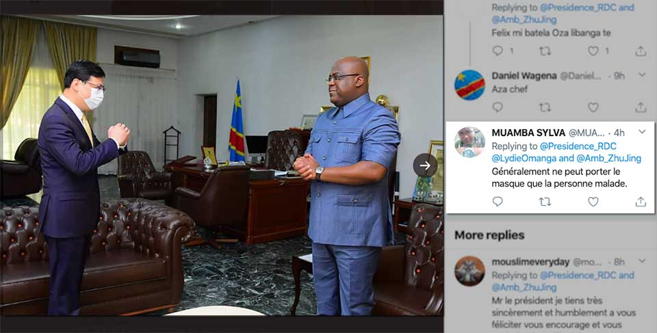 DRC President's Refusal to Wear Mask in Meeting With Chinese Ambassador Sparks Concern