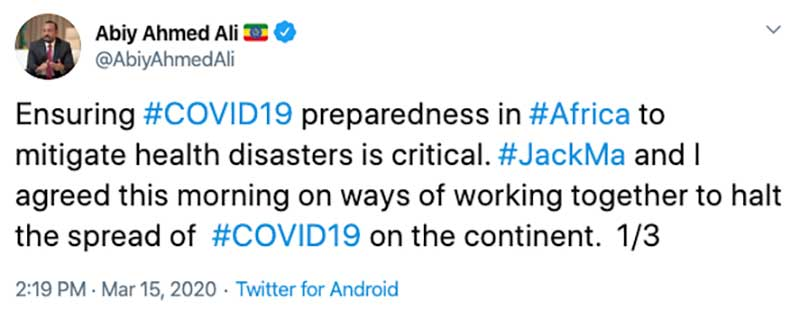 Jack Ma to Donate Tens of Thousands of COVID-19 Test Kits and Face Masks to Countries Across Africa
