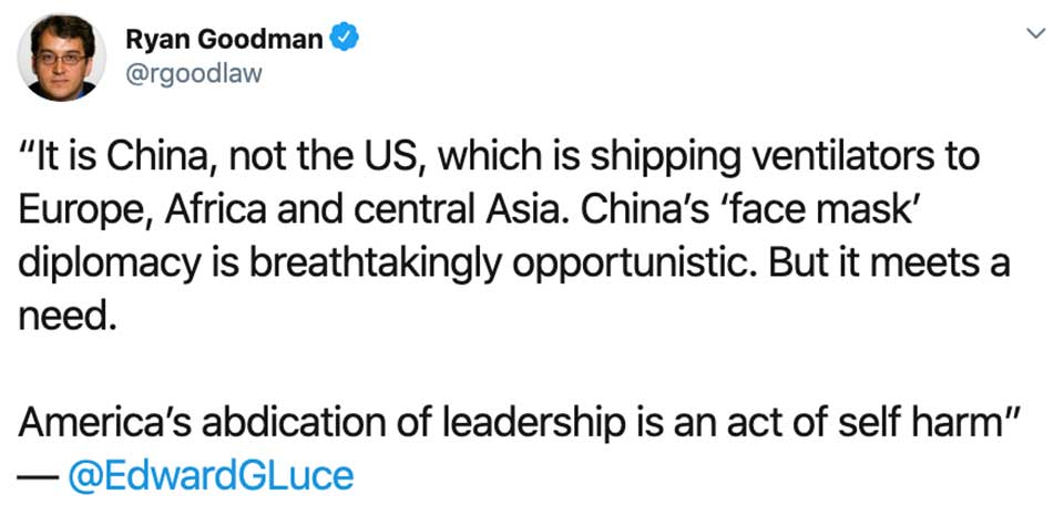 """Beijing's """"Mask Diplomacy"""" Now a Simmering Issue in the Increasingly Acrimonious U.S.-China Relationship"""
