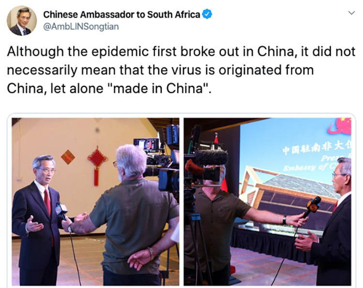 """Chinese Ambassadors in Africa Amplify Beijing's New Line That COVID-19 Isn't """"Made in China"""""""