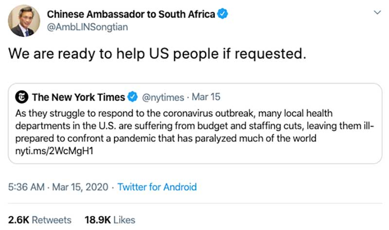China's Ambassador to South Africa Really Seems Like He's Trolling the United States Government