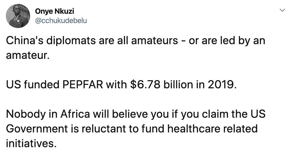 Context Matters: No Matter How Much Good Press China's Getting Over its COVID-19 Relief Efforts, the U.S. Far Outspends the Chinese in African Public Health