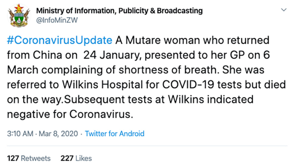 Did a Chinese Woman Die From COVID-19 in Zimbabwe? Depends on Who You Believe