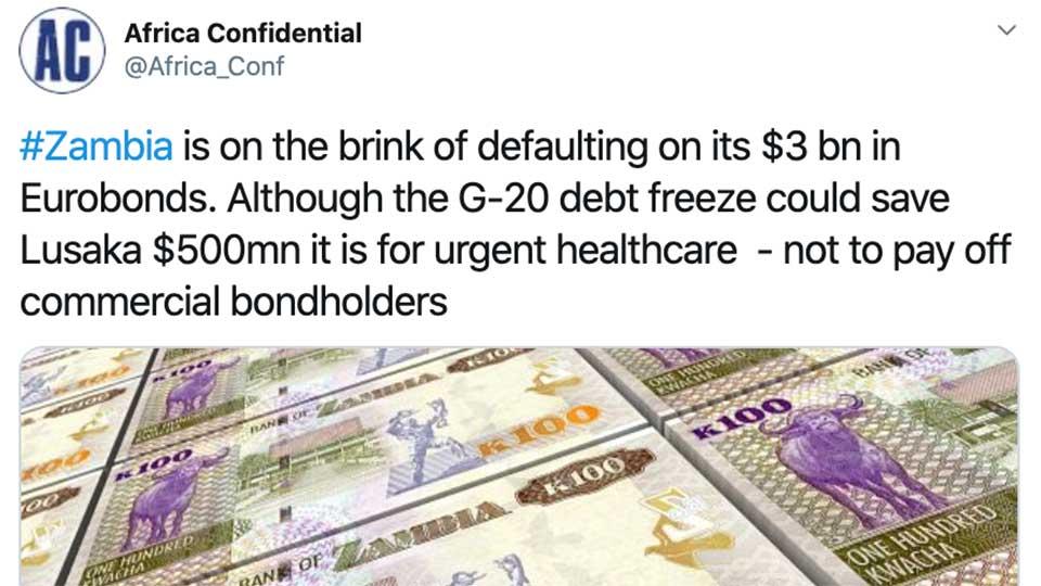 Africa Confidential: Zambia Close to Eurobond Default