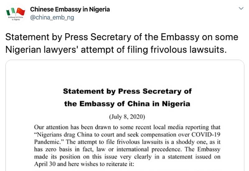 """The Chinese Embassy in Abuja Blasts Nigerian COVID-19 Lawsuit as """"Shoddy"""" and """"Frivolous"""""""