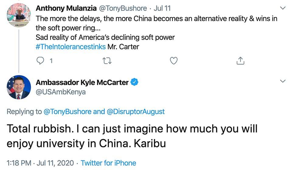 Washington's Outspoken Ambassador to Kenya Doesn't Think Too Highly of Chinese Universities