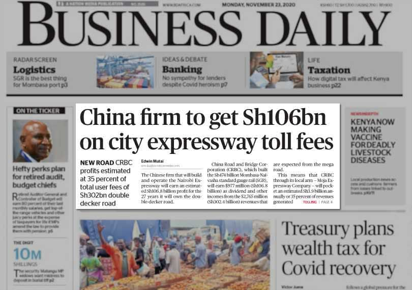 Many Kenyans Surprised and Somewhat Perturbed That the Chinese Contractor Building the Nairobi Expressway is Going to Make a LOT of Money