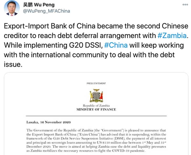 China's Top SSA Diplomat Praises Zambia-Exim Bank Deferral Deal, Makes No Mention of Default