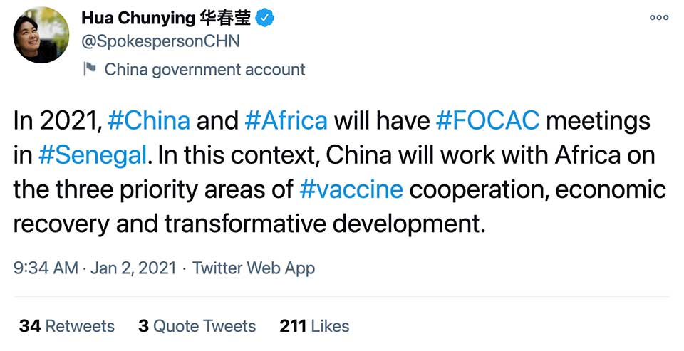 China Outlines Three Priorities For Its Ties With Africa in 2021