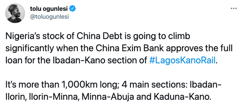 New Railway in Nigeria to Push Up the Country's Debts to China