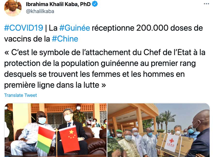 Chinese COVID-19 Vaccines Arrive in Guinea
