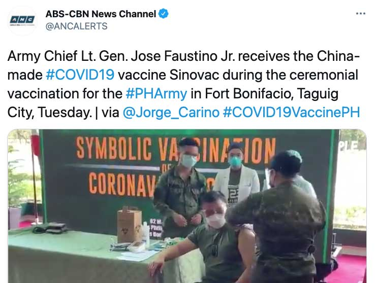 China's Vaccine Distribution Campaign Now Extends to the Military With PLA Donation to the Philippines Army