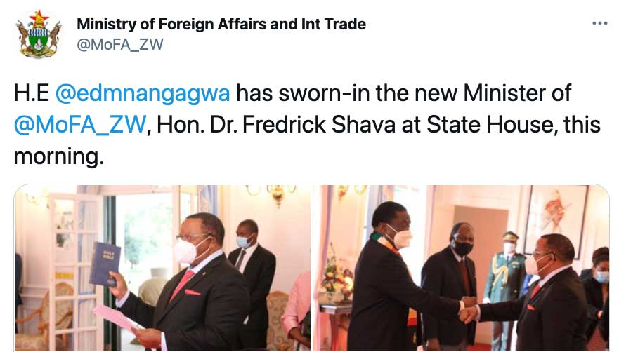 Zimbabwe's Former Ambassador to China is Sworn in as Foreign Minister
