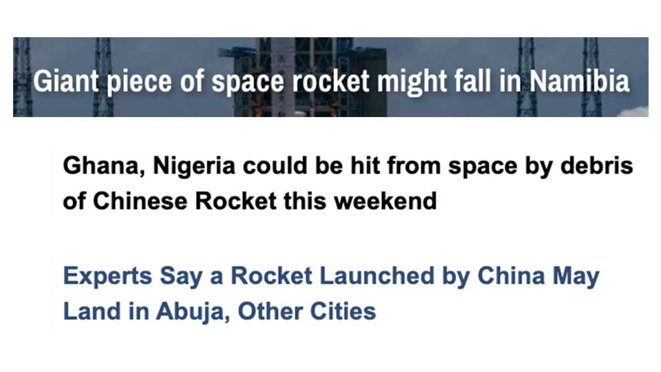 Lots of Concern This Weekend That Debris From an Out of Control Chinese Rocket Was Going to Land in Africa
