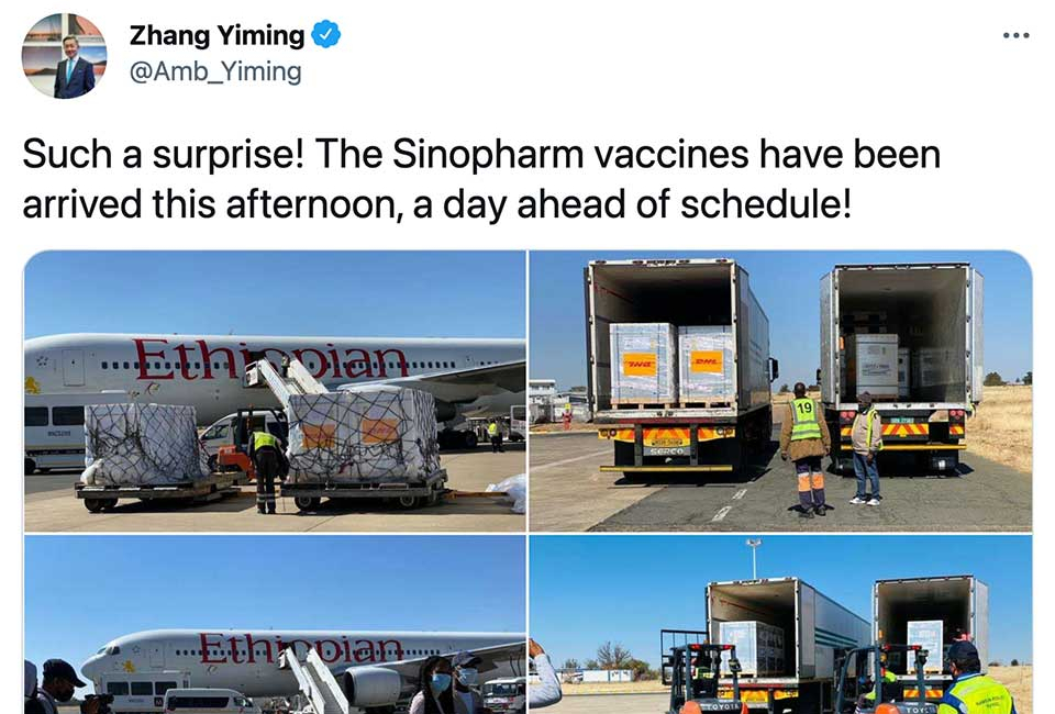 Namibia's National Vaccine Drive to Resume Today Thanks to New Shipment of Chinese Jabs