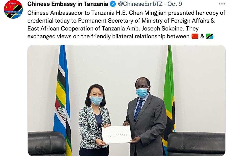 China's New Ambassador to Tanzania Presents Her Credentials
