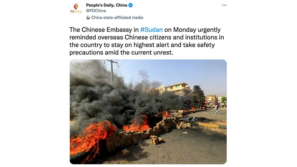 Chinese Embassy in Sudan Activates Emergency Protocols, Orders Companies to Stop Work and Personnel to Take Shelter
