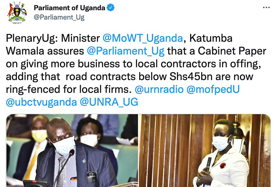 Uganda's Parliament Considering New Law to Bolster Local Construction Companies Against Chinese Competition