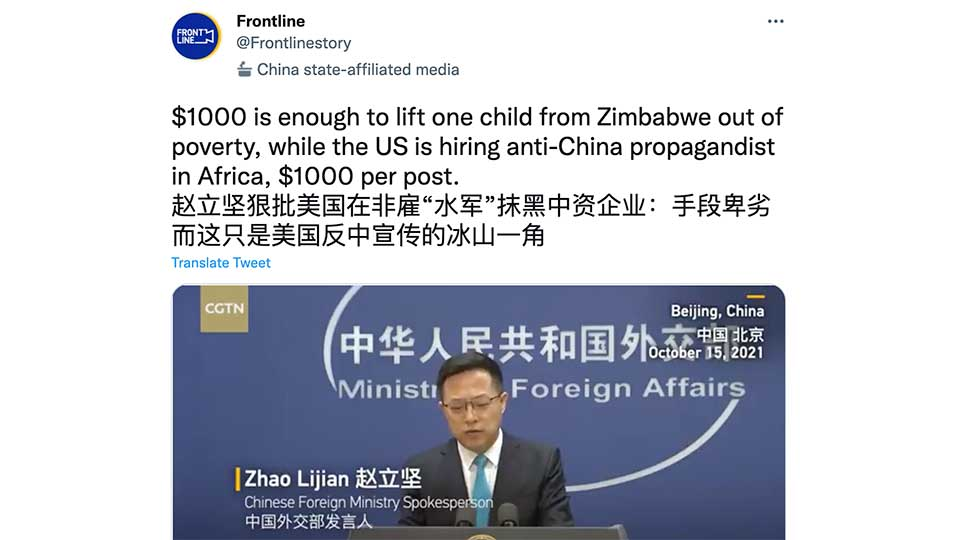 Beijing Responds to Media Reports that the U.S. Embassy in Zimbabwe is Paying $1,000 For Journalists to Write Anti-China Stories